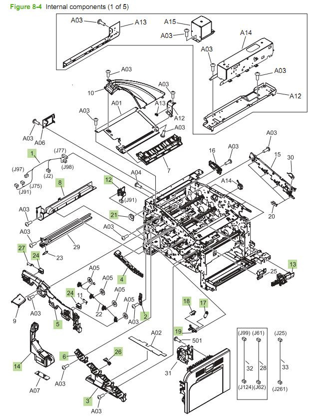 4. HP CM3530 Internal Components 1 of 5 printer parts diagram