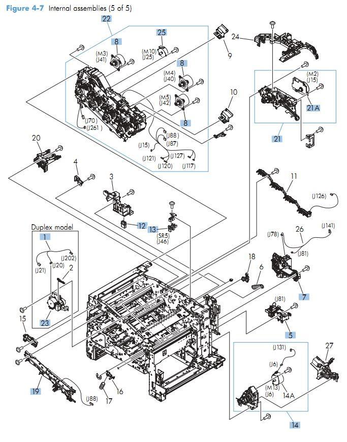 7. HP M551 Internal Components 5 of 5 printer parts diagram