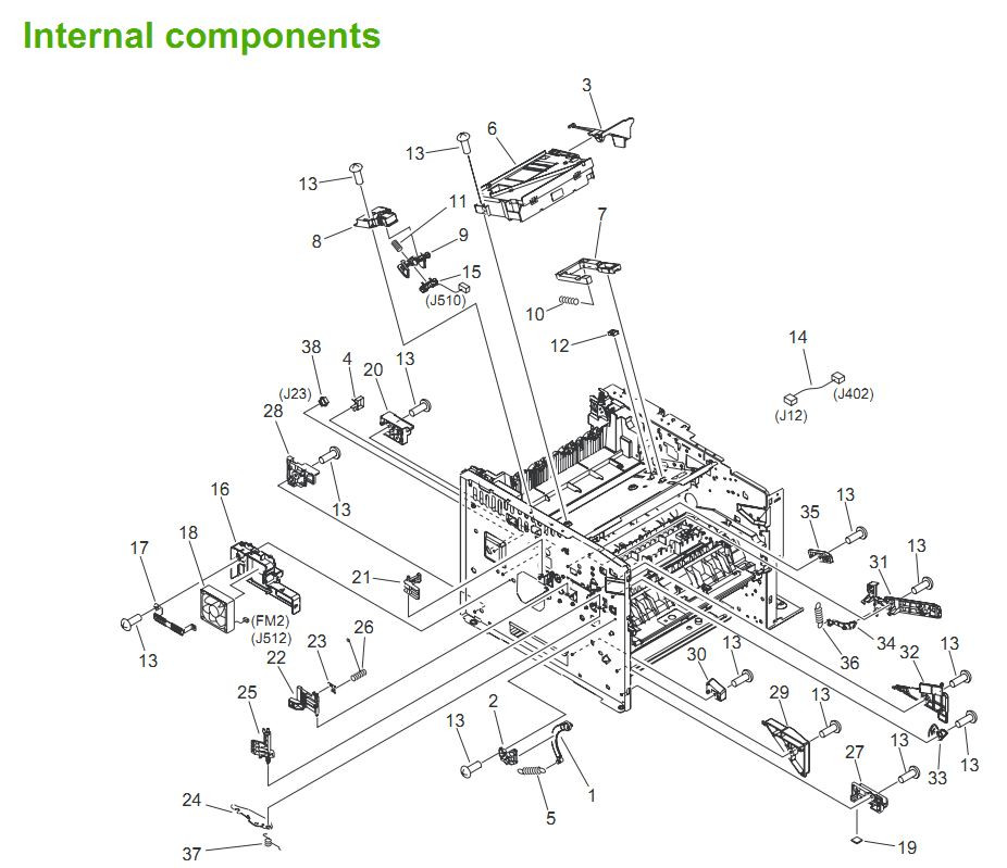 2. HP LaserJet P3005 Internal components 1 of 6 Printer Parts Diagrams