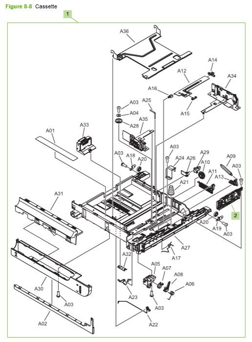 4) HP CP3525 Internal components 2 of 5 printer parts diagram