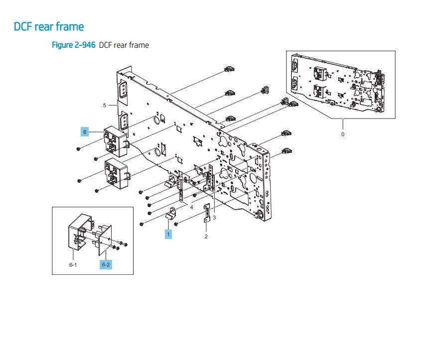 30. HP LaserJet E82540 E82550 E82560 DCF Paper Feeder rear frame Printer Parts Diagram