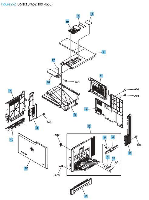 2. HP M652 M653 Cover, panels and doors printer parts diagram