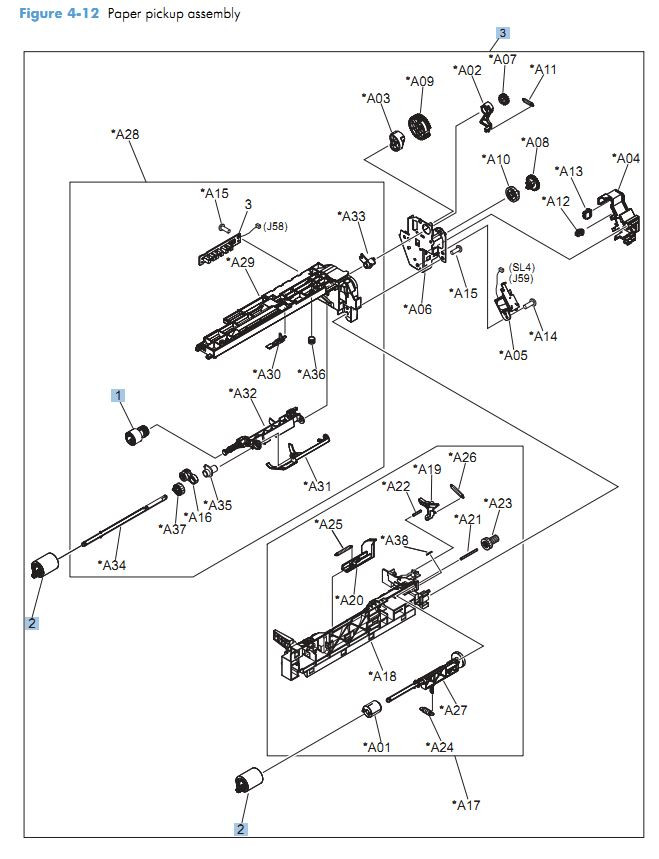 12. HP CM4540 Paper pickup assy printer parts diagram