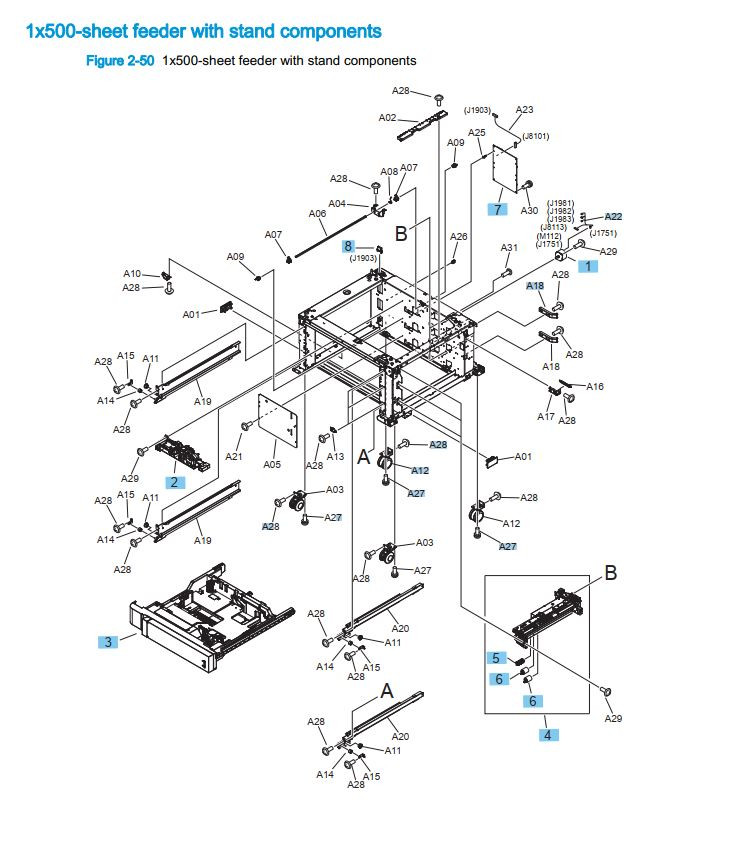 16. HP M855 M880 1 x 500 sheet feeder with stand components printer part diagrams