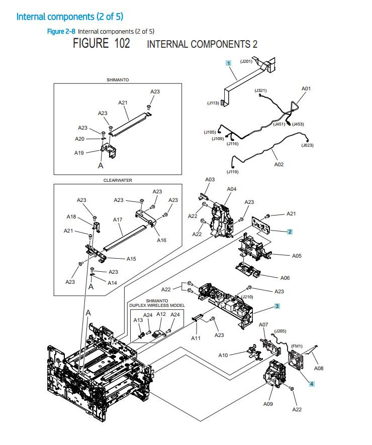 5. HP M454 M479 Internal Assemblies 2 of 5 printer parts diagram
