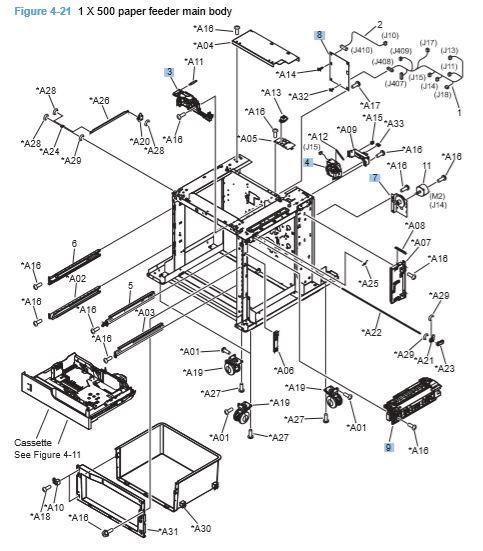 21) HP CP4025 CP4525 1 x 500 paper Feeder Main Body Printer Diagram