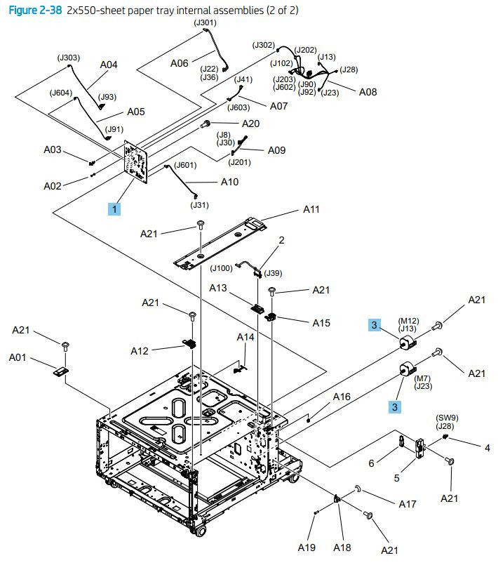 38. HP M776dn M776z M856 E85055 2 x 550 sheet tray internal assemblies 2 of 2 printer parts diagram