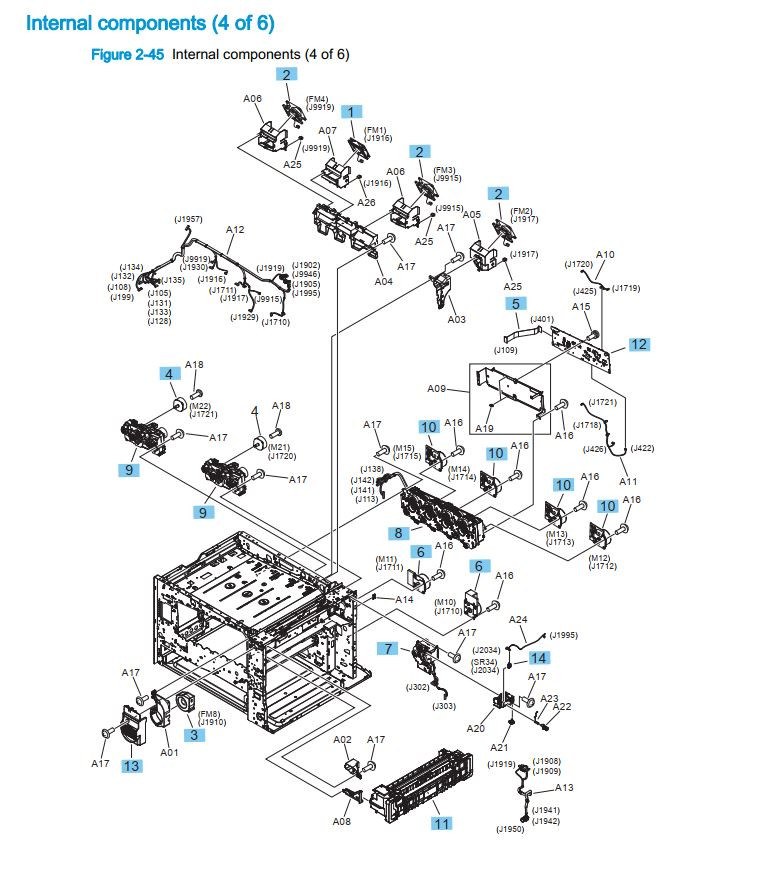 11. HP M880 M855 Internal components 4 of 6 printer part diagrams