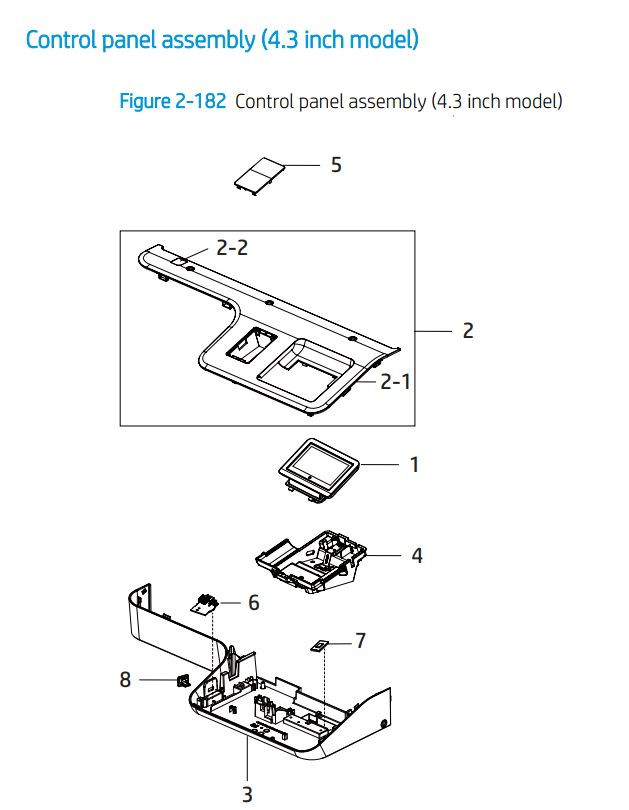 12. HP E72425 E72430 Control panel 4.3 inch printer parts diagram