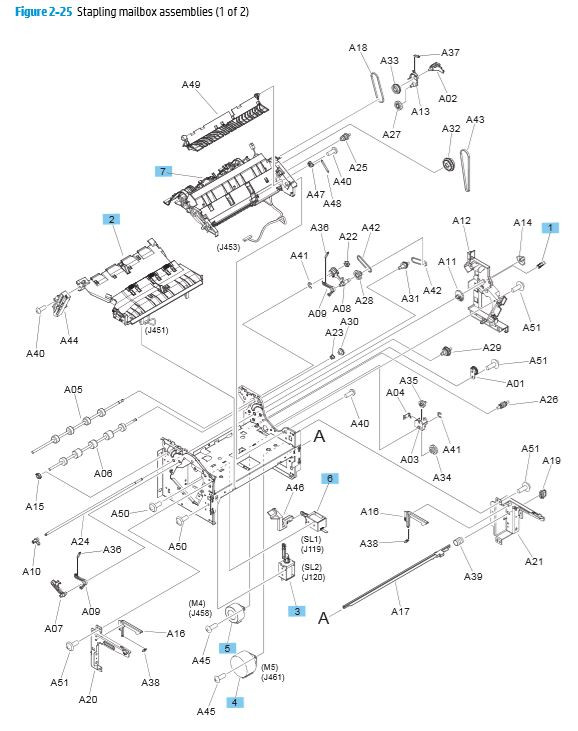 25. HP M680 M651 Stapling mailbox components 1 of 2 printer parts diagram