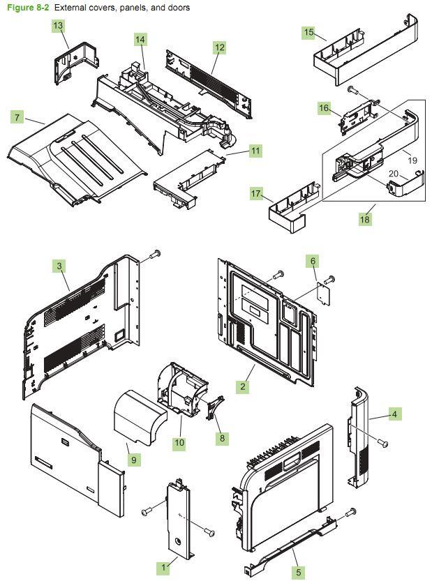 HP CM3530 Covers, Panels and doors printer parts diagram