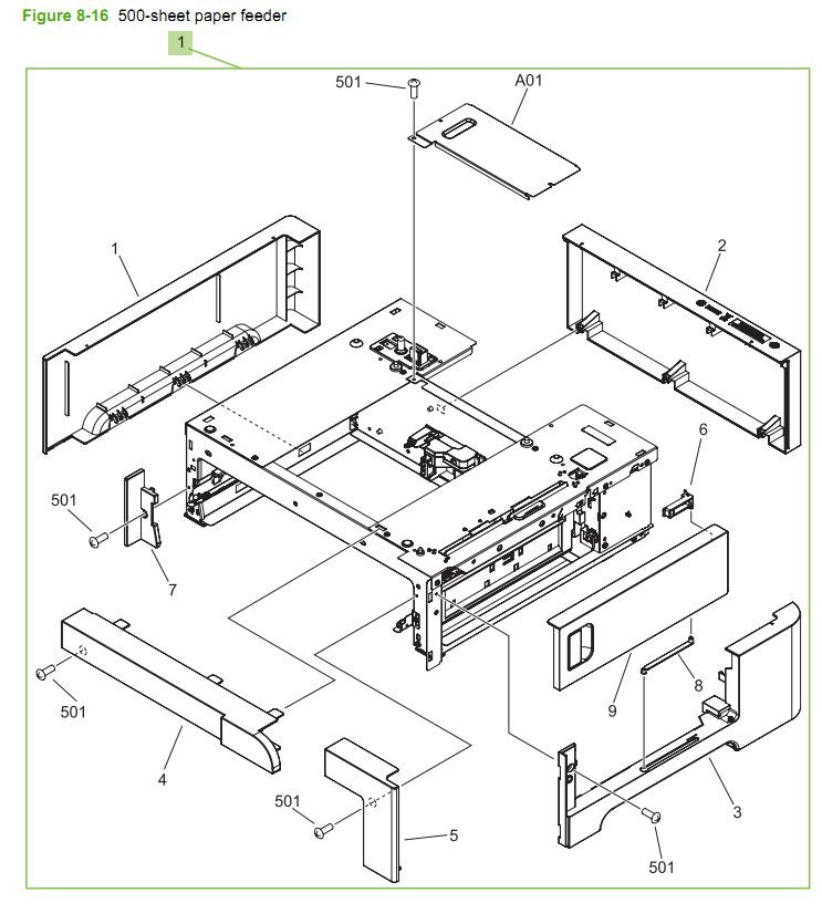 16. HP CM3530 500 sheet paper feeder assembly printer parts diagram