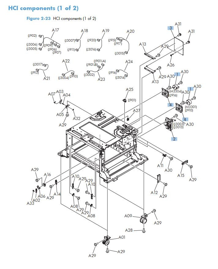 16. HP M725 HCI high capacity feeder components 1 of 2 printer part diagrams