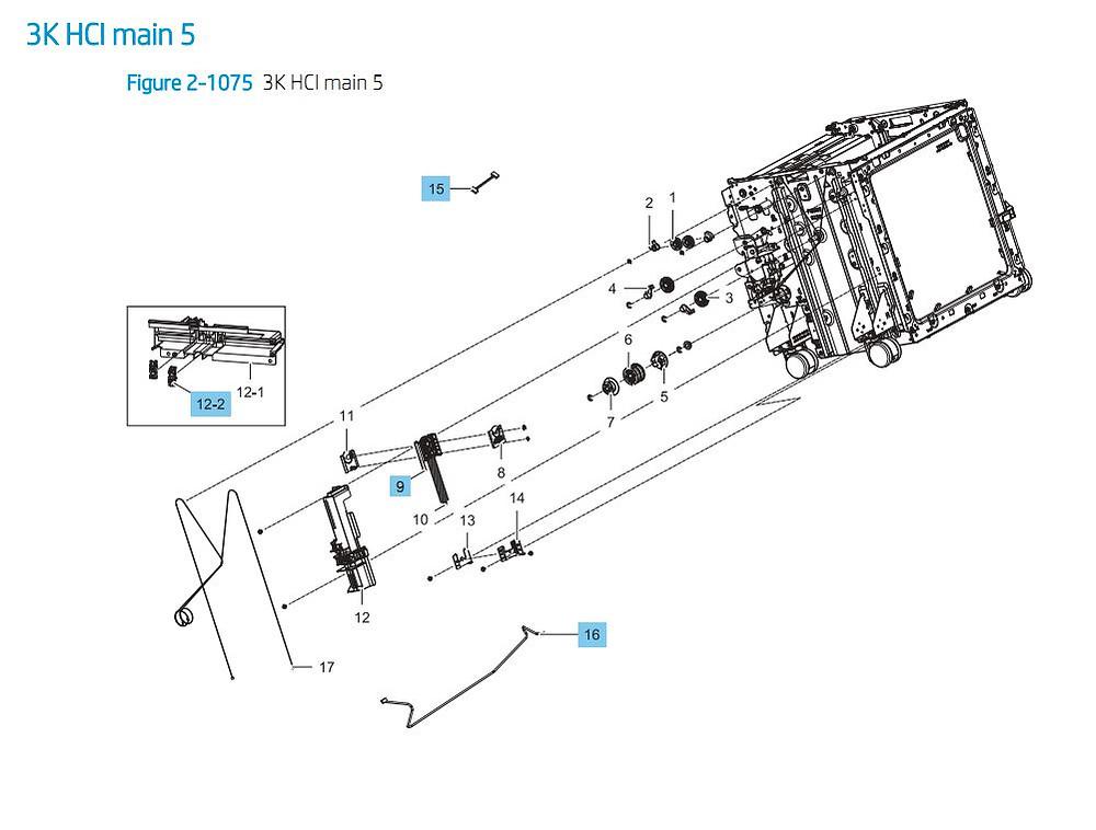 39. HP E87640 E87650 E87660 3000 sheet SHCI Cassette Feeder Main 5 Printer Part Diagrams