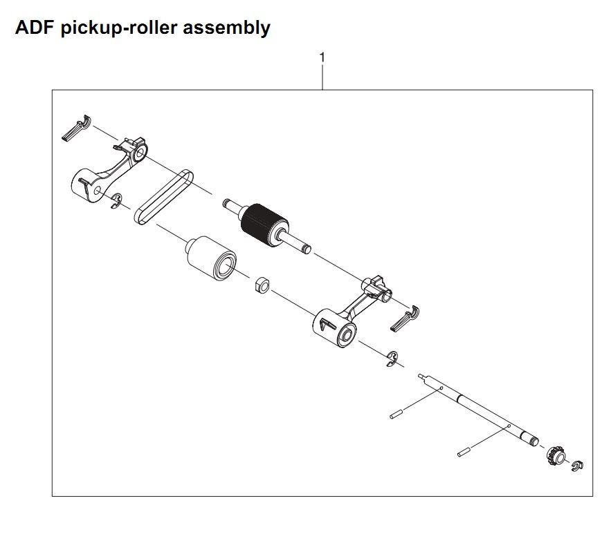 32. HP 4345 Q3942A 4345x Q3943A 4345xs Q3944A 4345xm Q3945A ADF pickup roller assembly Printer Part Diagrams