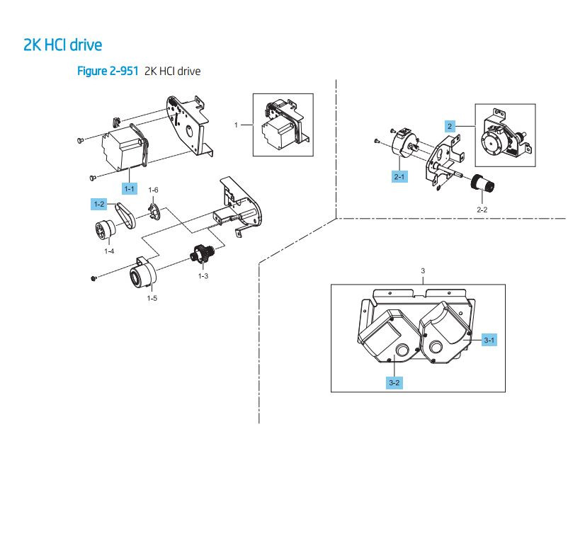 34. HP LaserJet E82540 E82550 E82560 2000 sheet feeder HCI drive Printer Parts Diagram