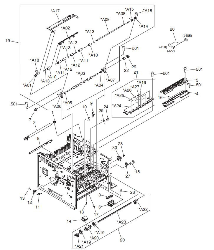 4. HP LaserJet P3005 Internal components 3 of 6 Printer Parts Diagrams