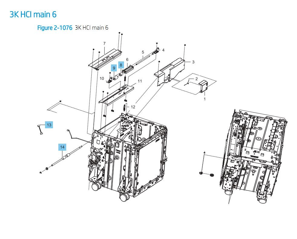 40. HP E87640 E87650 E87660 3000 sheet SHCI Cassette Feeder Main 6 Printer Part Diagrams