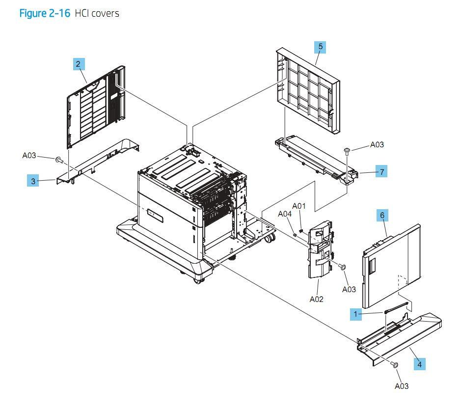 16. HP M652 M653 M681 M682 E65050 E65060 E67550dh E67560z HCI High capacity input feeder printer parts diagram