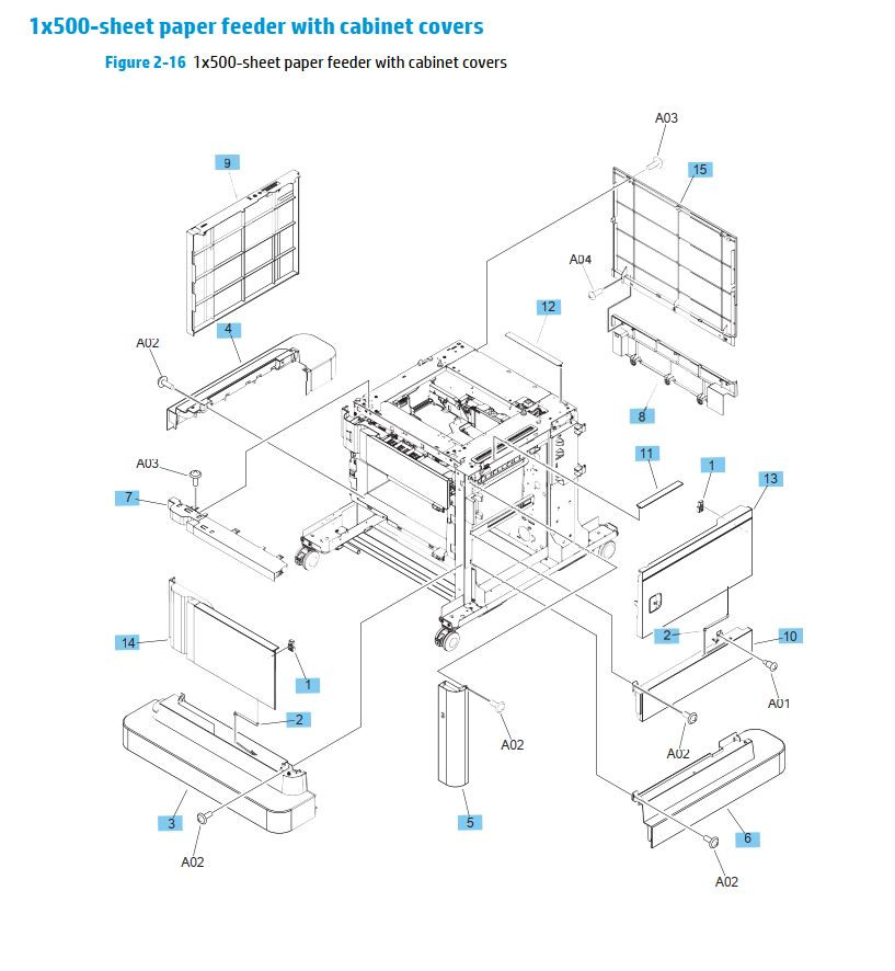15. HP M630 1 x 500 sheet paper feeder with cabinet covers printer parts diagram