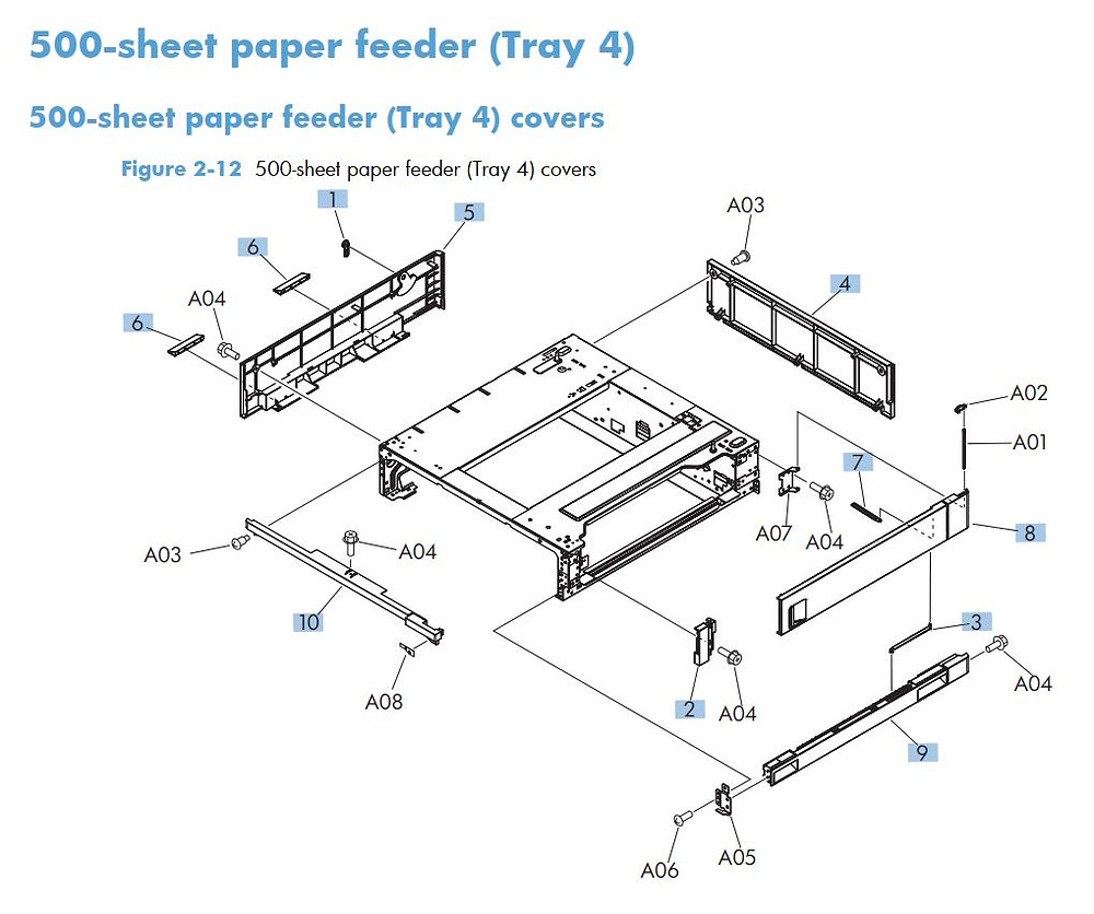 6. HP M712 500 Sheet paper feeder tray 4 covers printer part diagrams