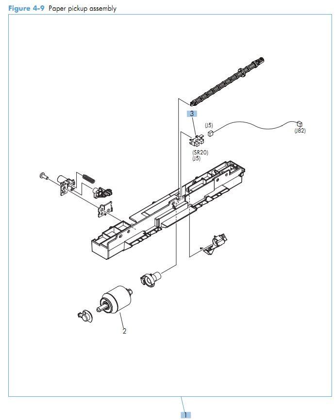 9. HP M551 Paper pickup assembly printer parts diagram