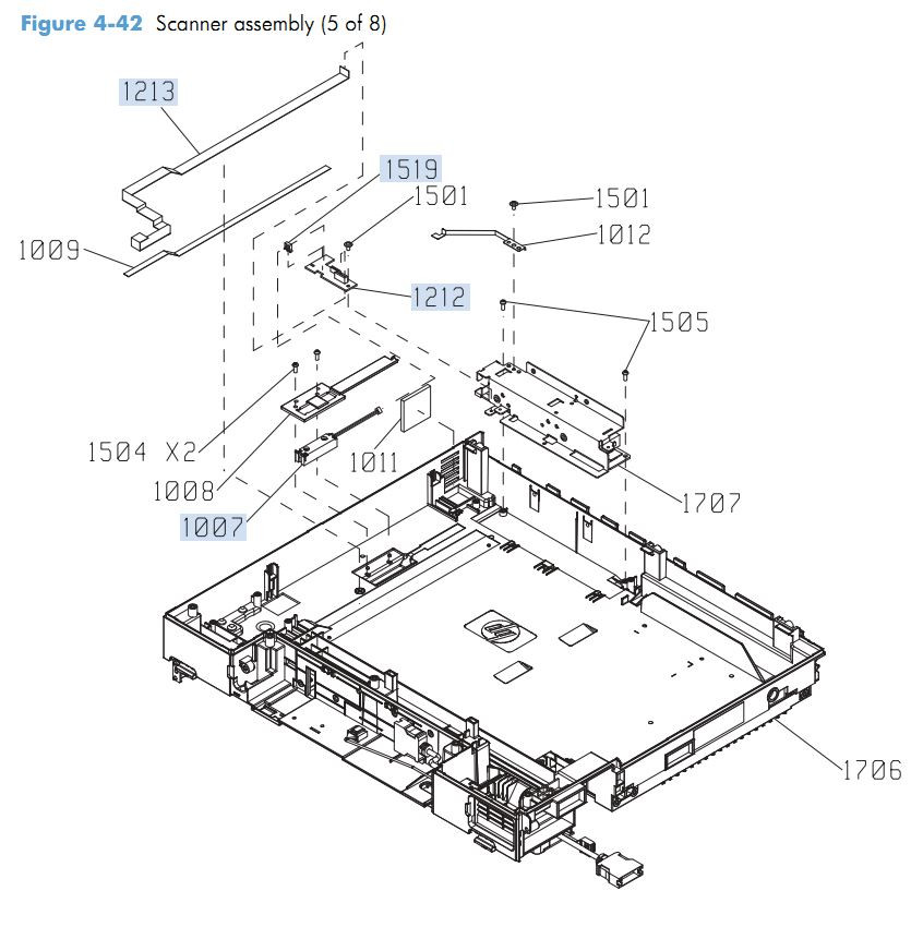 36. HP M4555 Scanner Components 5 of 8 printer parts diagram