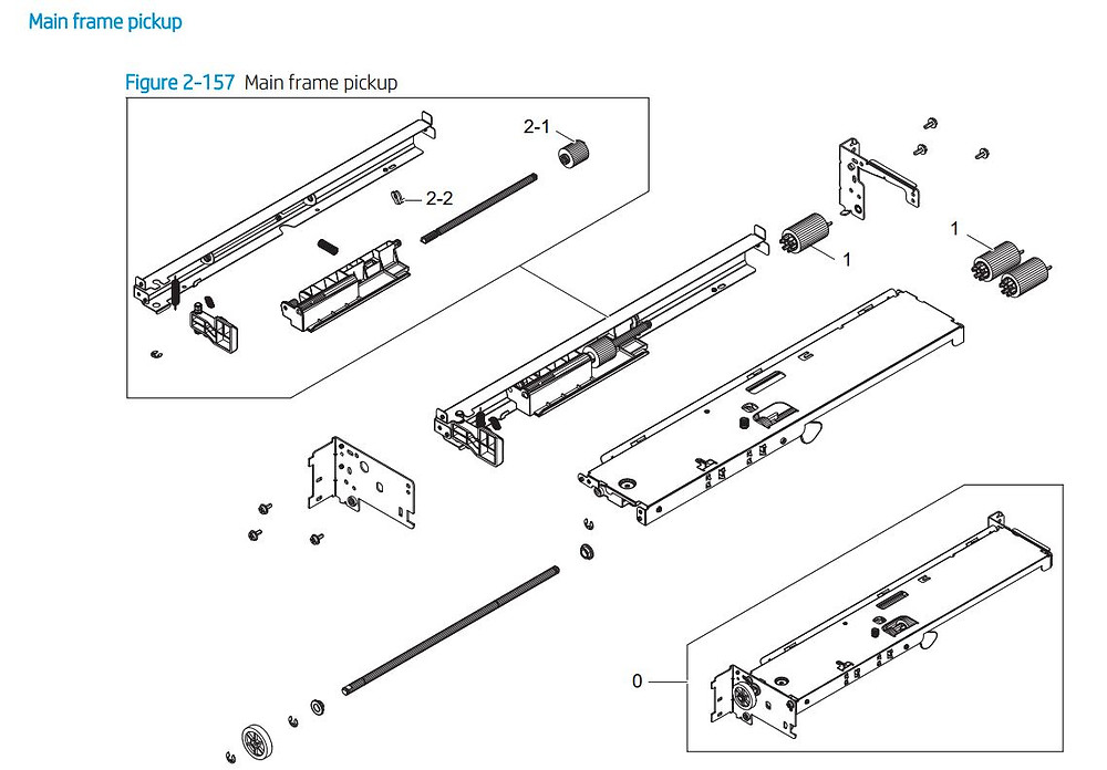 11. HP E77422 E77428 Main frame paper pickup assembly printer parts diagram