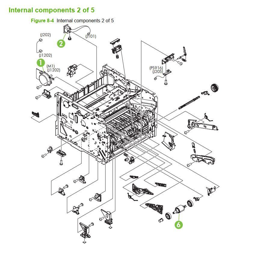 4. HP P2035 P2055 Internal assemblies 2 of 5 printer parts diagram