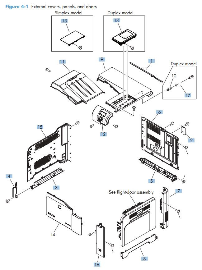 HP M551 Covers, Panels and doors printer parts diagram