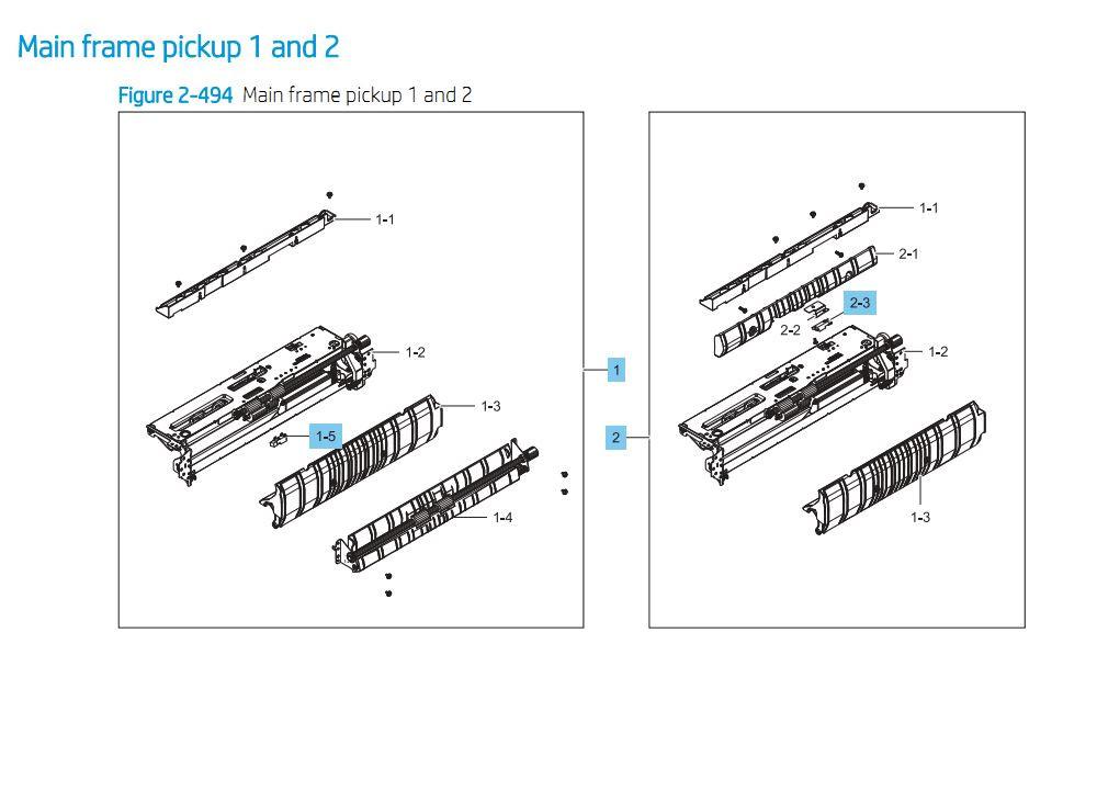 9. HP E87640 E87650 E87660 Main Frame Pickup 1 and 2  Assembly Printer Part Diagrams