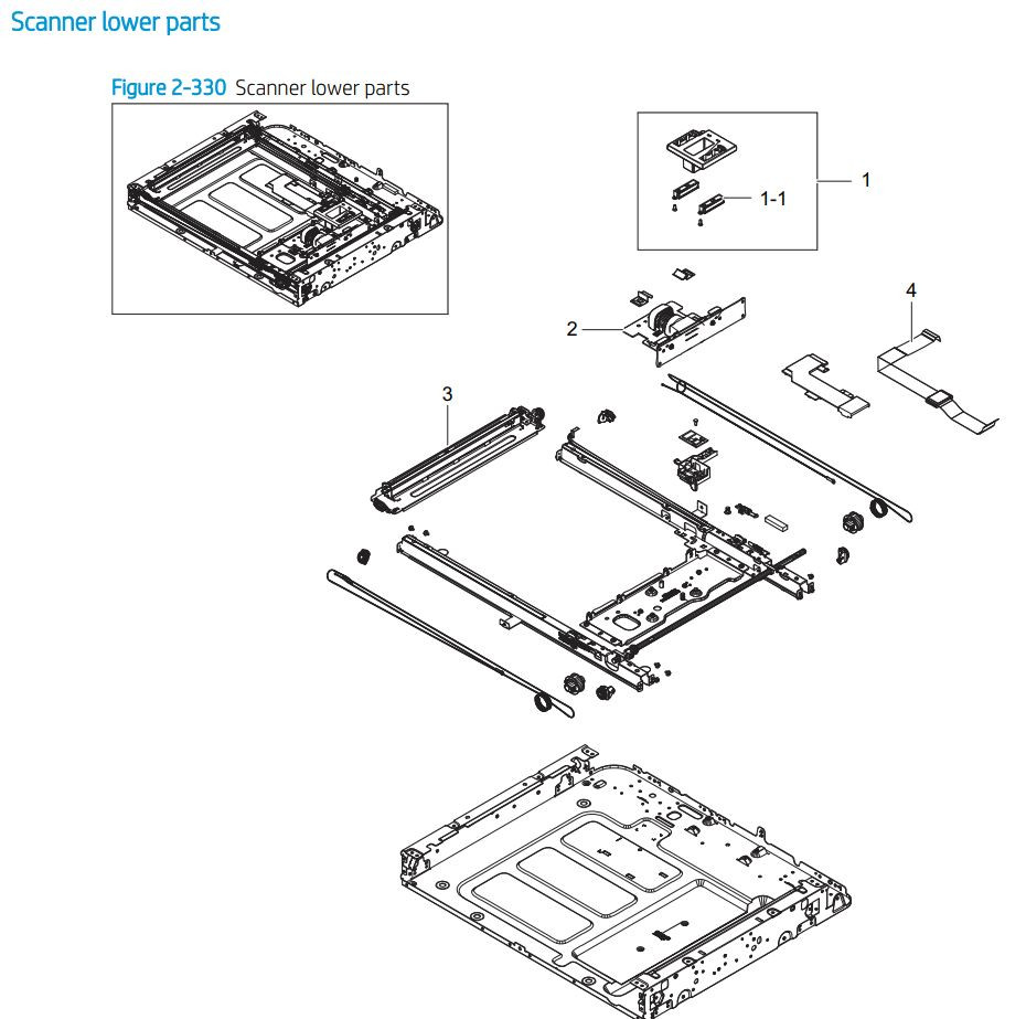 27. HP E77422 E77428 Scanner lower assembly printer parts diagram
