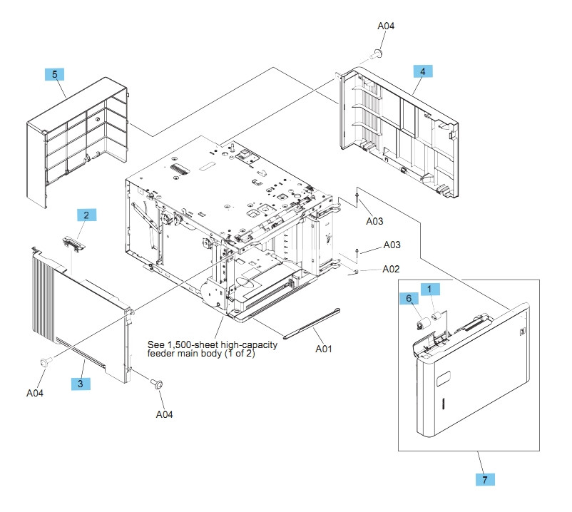 1,500 Sheet Feeder Covers M604 M605 M606 Printers Part Diagram