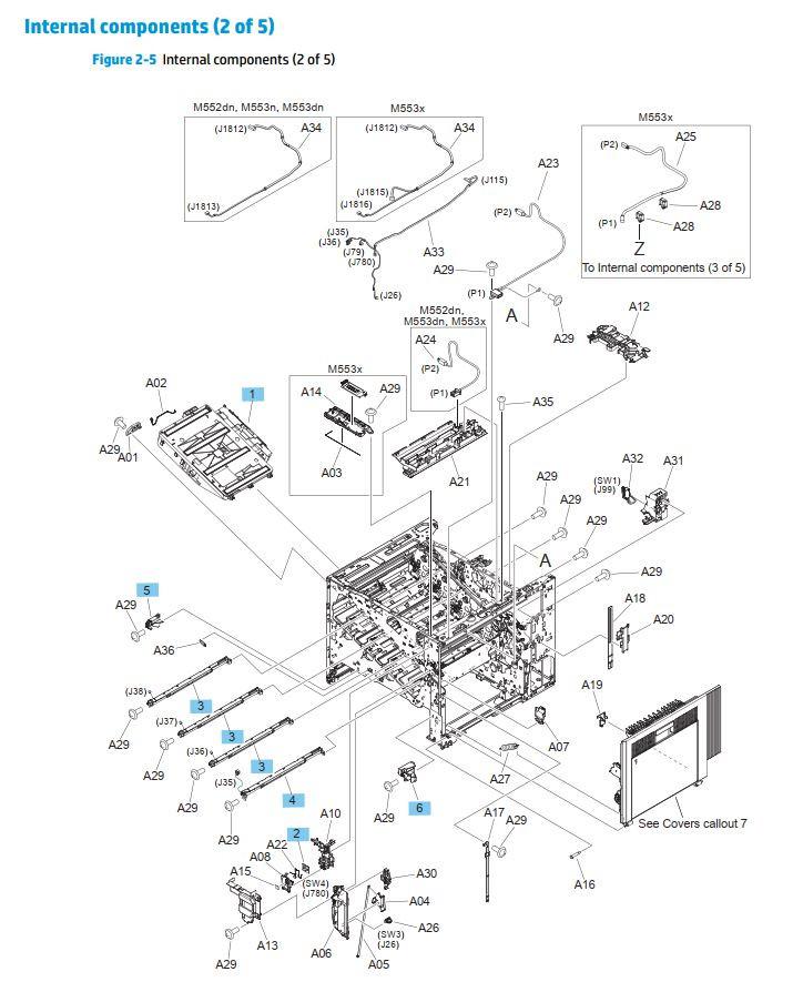 5. HP M552 M553 M577 Internal assemblies 2 of 5 printer parts diagram