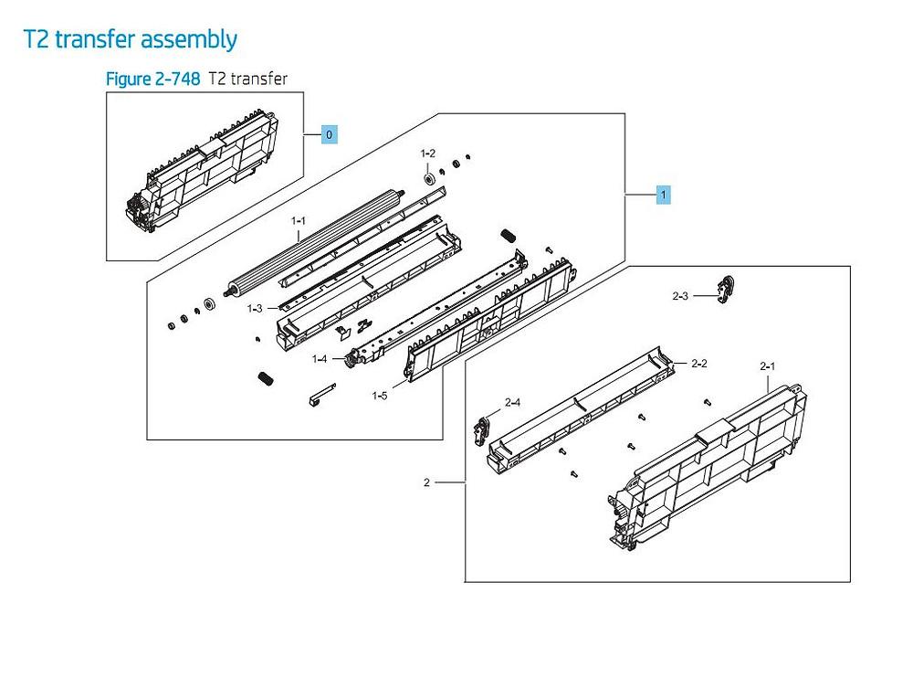 16. HP E87640 E87650 E87660 T2 Transfer Assembly Printer Part Diagrams