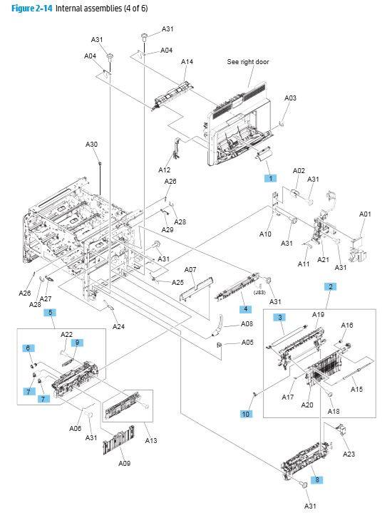 14. HP M680 M651 Internal Assemblies 4 of 6 printer parts diagram