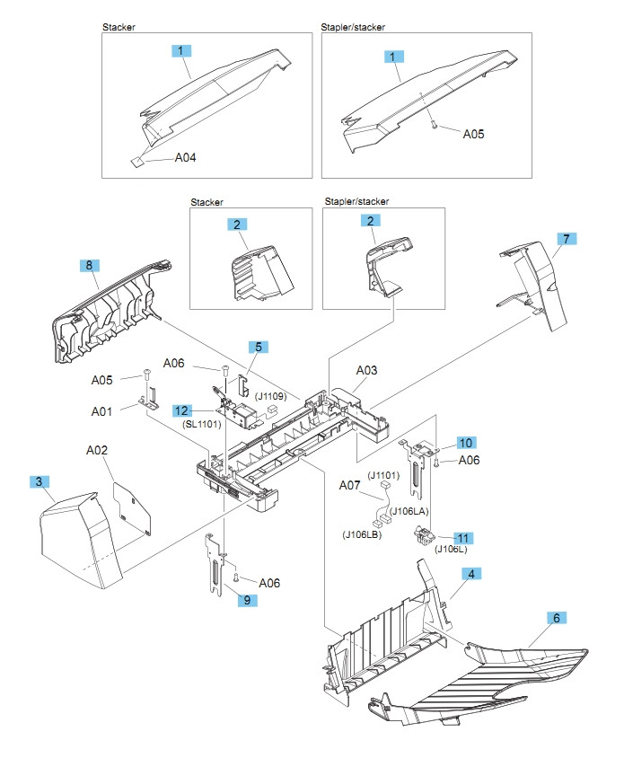 Stapler and Stapler/Stacker Covers M604 M605 M606 Printers Part Diagram
