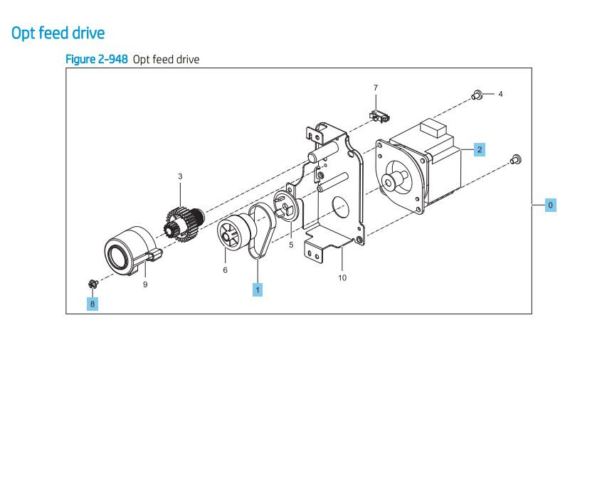 31. HP LaserJet E82540 E82550 E82560 Opt feeder drive Printer Parts Diagram