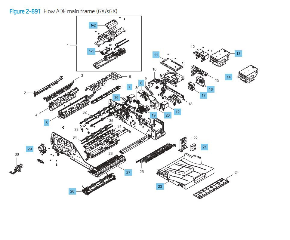 24. HP E87640 E87650 E87660 ADF Main Frame GX / sGX Printer Part Diagrams