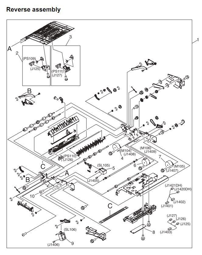 21. HP 4345 Q3942A 4345x Q3943A 4345xs Q3944A 4345xm Q3945A Reverse assembly Printer Part Diagrams