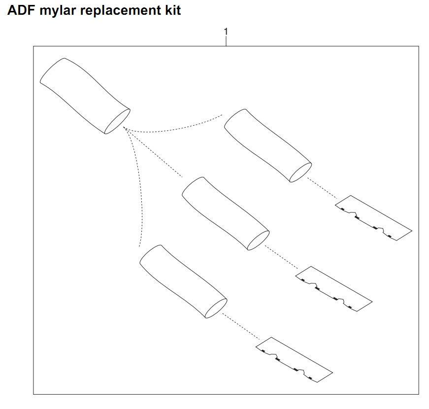 35. HP 4345 Q3942A 4345x Q3943A 4345xs Q3944A 4345xm Q3945A ADF mylar replacement kit Printer Part Diagrams