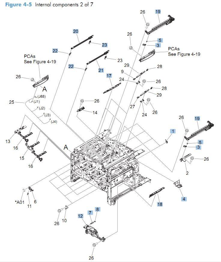 5. HP CM4540 Internal Components 2 of 7 printer parts diagram
