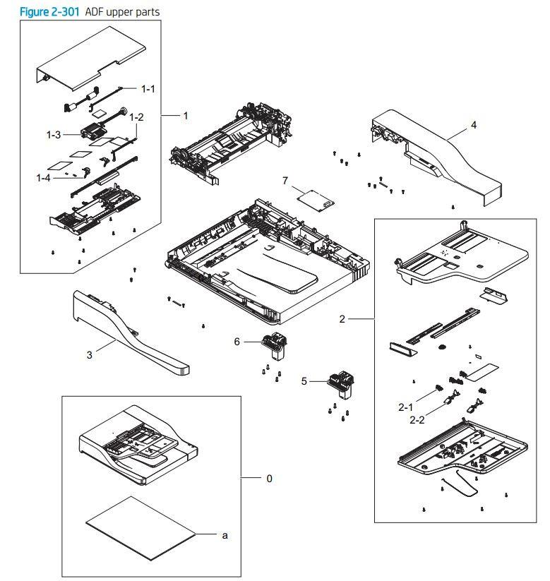 20. HP E72425 E72430 ADF upper printer parts diagram