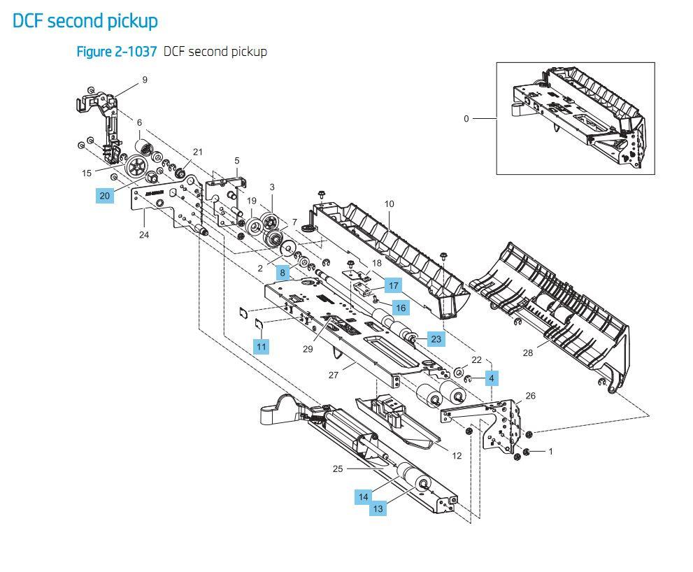 31. HP E87640 E87650 E87660 Duel Cassette Feeder DCF Paper Tray Second Pickup Printer Part Diagrams