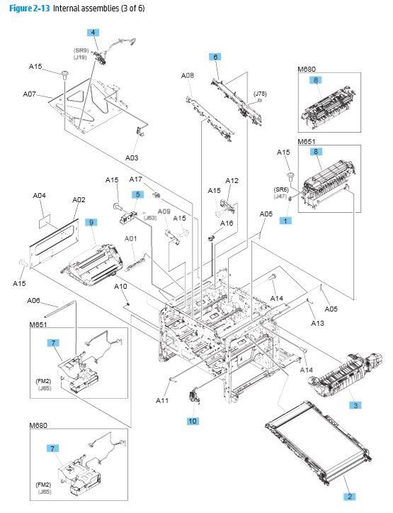 13. HP M680 M651 Internal Assemblies 3 of 6 printer parts diagram