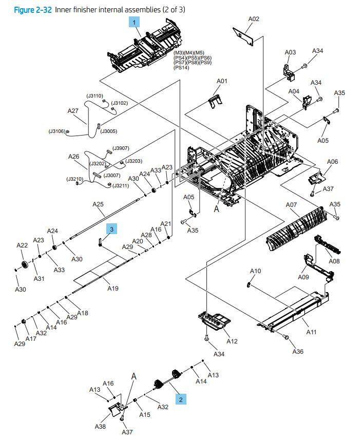32. HP Printer internal finisher 2 of 3 printer parts diagram