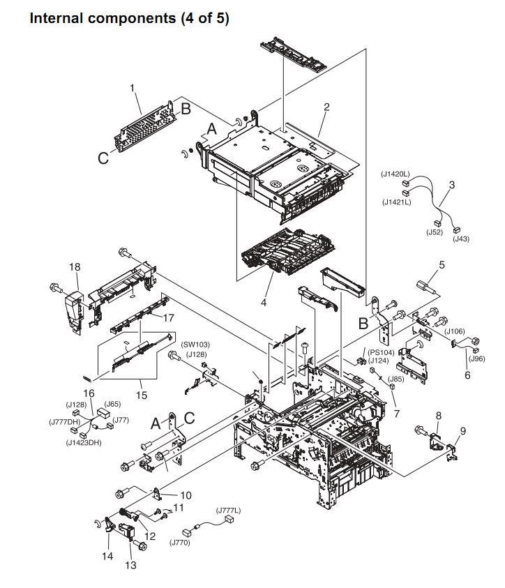 12. HP 4345 Q3942A 4345x Q3943A 4345xs Q3944A 4345xm Q3945A Internal components 4 or 5 Printer Part Diagrams