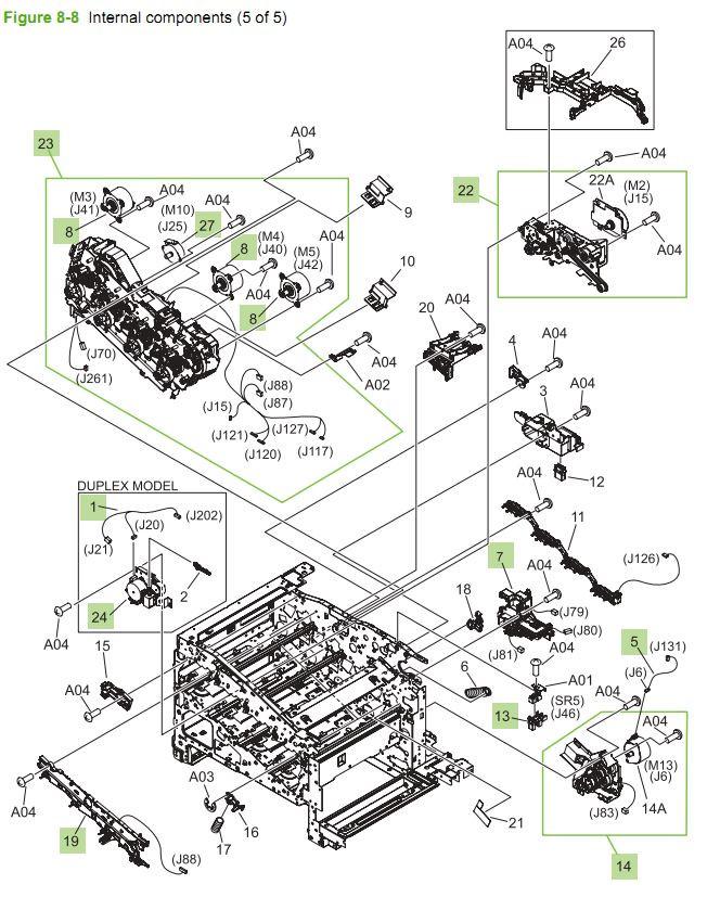 8. HP CM3530 Internal Components 5 of 5 printer parts diagram