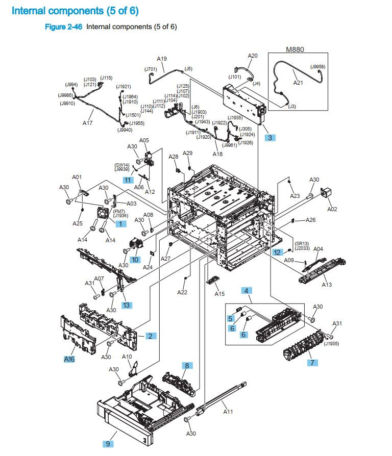 12. HP M880 M855 Internal components 5 of 6 printer part diagrams