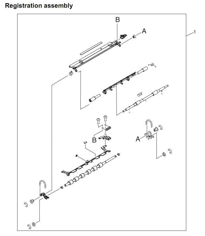 20. HP 4345 Q3942A 4345x Q3943A 4345xs Q3944A 4345xm Q3945A Registration assembly Printer Part Diagrams